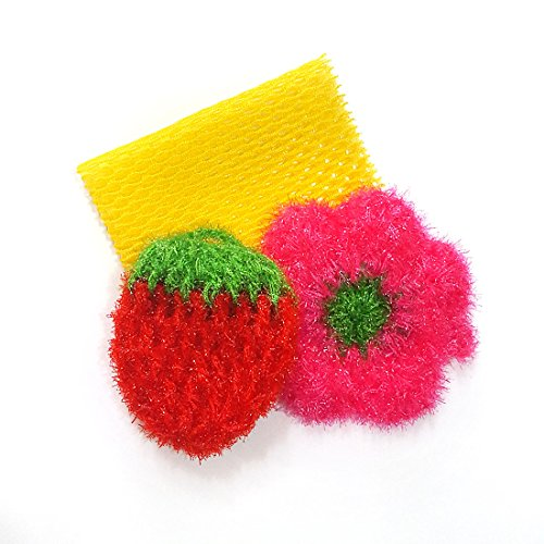 Cleaning Sponge Pad Net Cloth Set 3PACK for Washing Dishes Durable Dish Scrubber, Fruit Shape Scrubbing Pad Handmade to make acrylic thread Kitchen Sp…