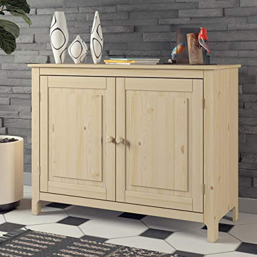 From the Tree Furniture Sideboard Storage Cabinet with 2 Doors and Shelves/Unfinished Solid Pine Wood Accent Cabinet