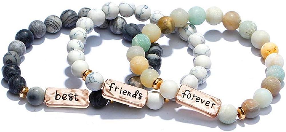 STRASS & PAILLETTES – Pulsera de Amigos   Trío de Pulseras Best Friend Forever Amis   Piedras semipreciosas para los Amigos
