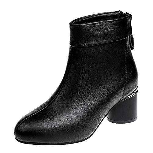 - vermers Women's Boots, Fashion Women Solid Color Thick Shoes with Zipper Mid-Tube Boots(US:7.5, Black)
