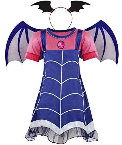 AmzBarley Big Girls Vampire Costumes Halloween Dress up Kids Lace Dress with Wing Cosplay Party Dresses Age 9-10 Years Size 10]()