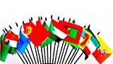 SOUTH CENTRAL ASIA WORLD FLAG SET--20 Polyester 4''x6'' Flags, One Flag for Each Country in South Central Asia, 4x6 Miniature Desk & Table Flags, Small Mini Stick Flags