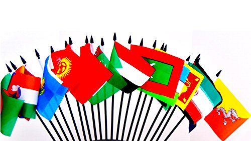SOUTH CENTRAL ASIA WORLD FLAG SET--20 Polyester 4''x6'' Flags, One Flag for Each Country in South Central Asia, 4x6 Miniature Desk & Table Flags, Small Mini Stick Flags by World Flags Direct (Image #6)