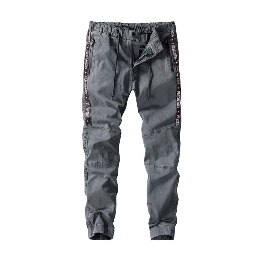 Men's Expandable-Waist Drawstring Tooling Pants Letter Print Multi-Pockets Closed-Bottom Trousers (29, Gray)