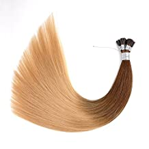"""Ty.Hermenlisa 22"""" Silky Straight Micro Rings Hair Extensions 100% Real Virgin Remy Human Hair Fusion Stick I Tip Extensions, 50strands/Pack, 35g, Dark Light Ash Blonde(#T403.DB3)"""