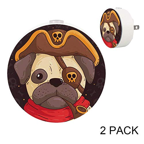 [2Pack] Plug in LED Night Lights for Kids, Auto Dusk to Dawn Sensor,Warm White Lights with Pirate Pug for Indoor Bedrooms, Best Gift for Baby, Girls, Boys