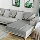 TEWENE Sofa Cover, Velvet Couch Cover Anti-Slip Sectional Couch Covers Sofa Slipcover for Dogs Cats Pet Love Seat Recliner Armrest Backrest Cover Gray (Sold by Piece/Not All Set)
