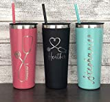 Personalized Nurse Laser Engraved 22 oz Tumbler with Straw, Stethoscope, RN, Nurse Gift, Doctor Gift, Nurse Assistant, Heartbeat, Nursing Student