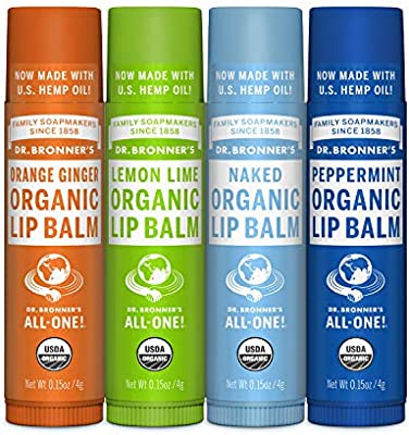 Dr. Bronners Organic Lip Balm - 4 Pack (Naked, Peppermint, Lemon Lime, Orange Ginger) by Dr. Bronners: Amazon.es: Belleza