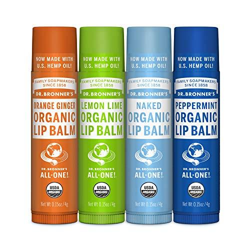 Dr. Bronner's Organic Lip Balm 4-Pack Variety Peppermint, Orange Ginger, Naked, Lemon Lime