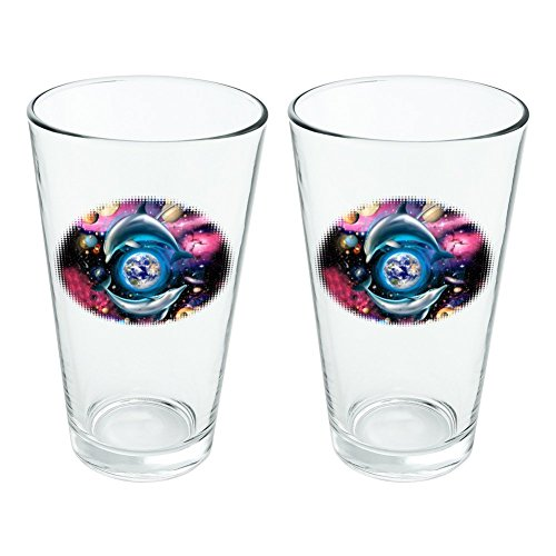 Dolphin Earth World Solar System Yin Yang Novelty 16oz Pint Drinking Glass Tempered Set of 2 by Graphics and More