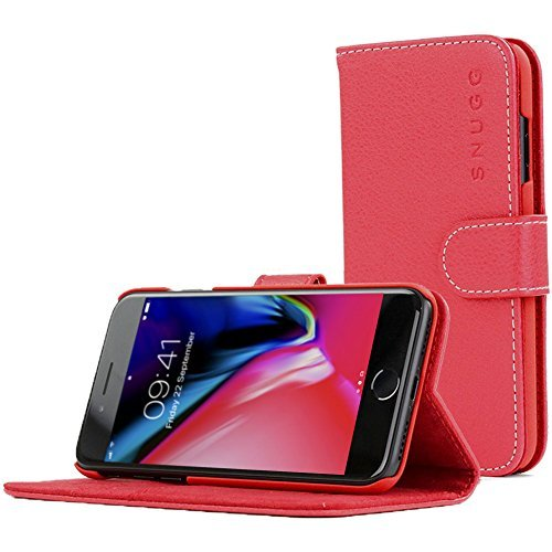 - Snugg iPhone 7 and 8 Case Apple iPhone Flip [Card Slots] Leather Wallet Cover Design in Red, Legacy Range