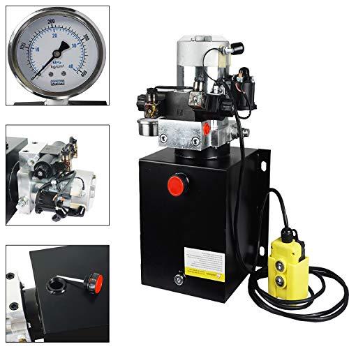 ECO LLC 12 Quart Double Acting 12V Hydraulic Power Unit 3200 PSI Max. Hydraulic Pump DC 12V Dump Trailer with Hydraulic Pressure Gauge