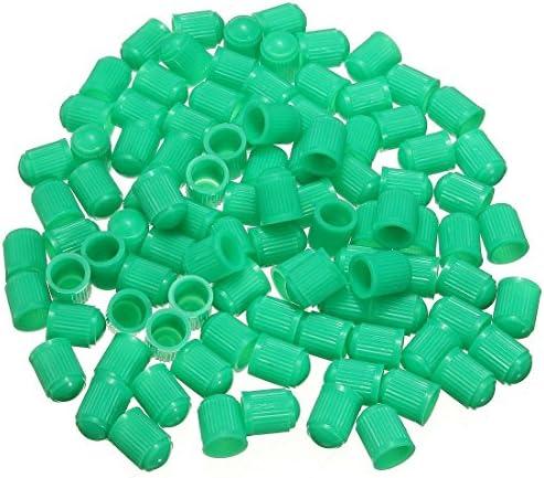 Gaoominy 100個 プラスチックバルブキャップ タイヤキャップバルブカバー カーオートバイに適用しています グリーンカラー