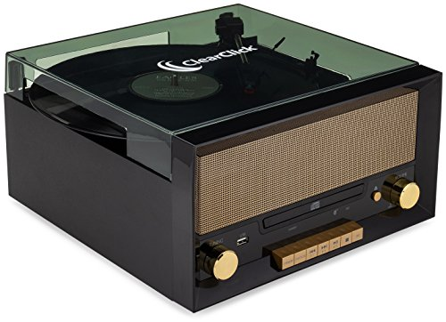 (ClearClick All-in-One Turntable with CD Player, FM Radio, Bluetooth, Aux-in, & USB - Vintage Retro Modern Design (Black) )
