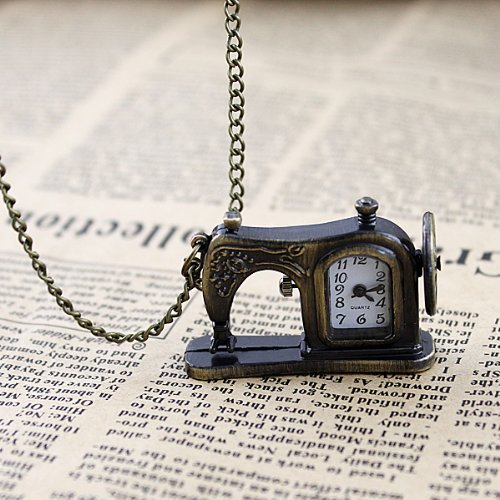 FEELONTOP Latest Frame Antique Pocket Watch with Carved Sewing Machines Designs with Free Jewelry Pouch