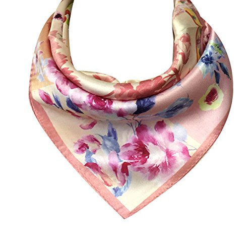 (Wrapables 100% Charmeuse Silk Square Scarf Neckerchief, Pink Peonies)
