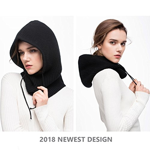 Hooded Scarf Women Men Cashmere Blending Soft Cozy Windproof Black Hat Fall Winter Outdoor Sports Cycling Skiing Camping (Black) by FINCATI (Image #4)