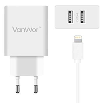 VANWOR Cargador iPhone USB 2 Puertos 4.8A 24W Cargador Pared ...