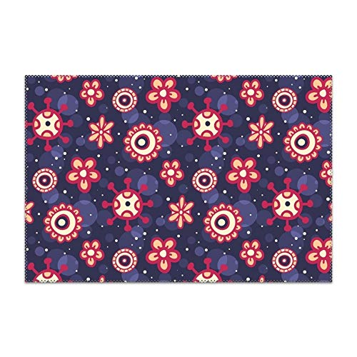 YLJH Washable Easy to Clean Purple Floral Print Placemat for Kitchen Table Heat-resistand Table Mats 12x18 inches ()