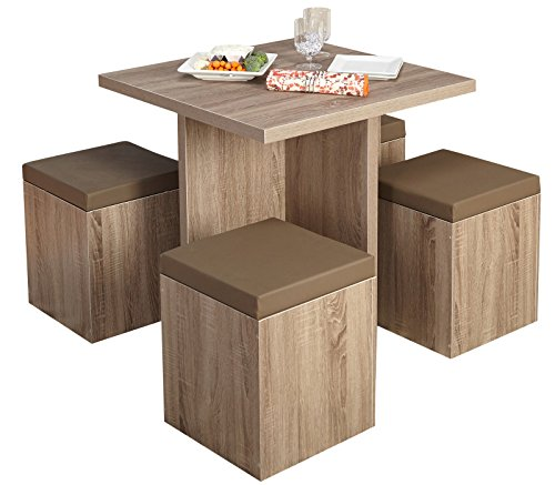 Contemporary Rustic Rustic Primitive Formal 5 Piece Dining Set (Dining Set Bermuda)