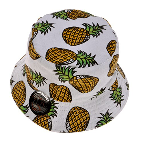 ZLYC Unisex Cute Pineapple Print Bucket Hat Summer Fisherman Cap, White Adult Bucket Hat