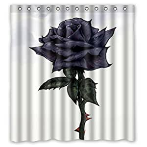 hello 66x 72 inches black rose 100 waterproof polyester shower curtain rings. Black Bedroom Furniture Sets. Home Design Ideas