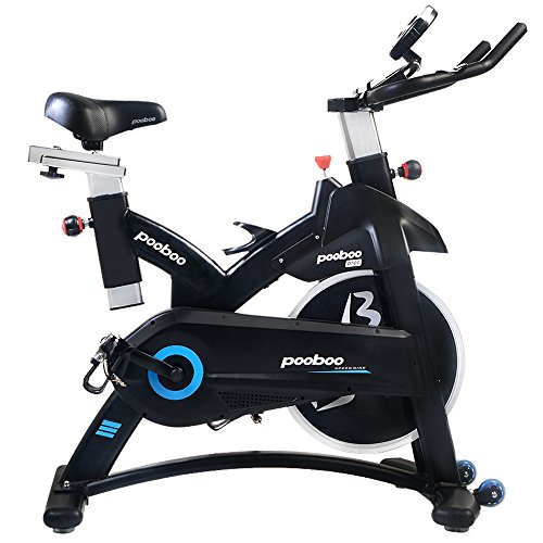 pooboo Indoor Cycling Bicycle, Belt Drive Indoor Exercise Bike,Stationary Exercise LED Display Trainer Bike Bottle Holder
