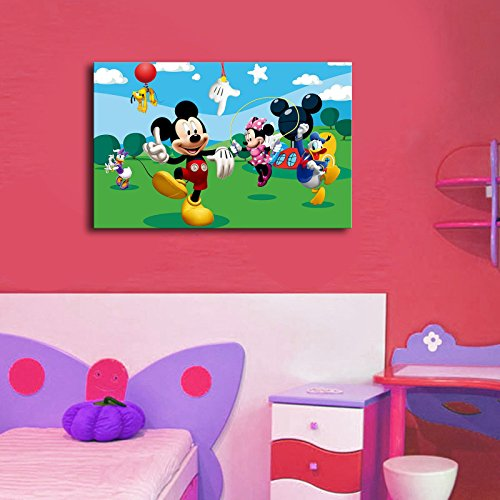 LaModaHome Kids Canvas Wall Art, Mickey Mouse and Friends Having Fun, Minnie, Donald Duck - Wooden Thick Frame Painting, Total Size (17.5