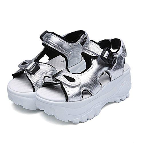 厚底サンダル レディース 歩きやすい 厚底靴 スポーツサンダル マジックテープ ベロクロ カジュアル おしゃれ 夏 通気 軽量 日常 美脚 身長up 約6.5cmヒール シルバー ブラック