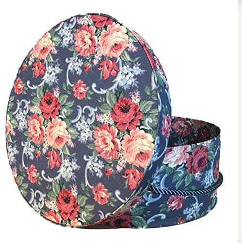 """Amazon.com: 8"""" Large Hat Box in Roses on Navy Floral Fabric: Handmade"""