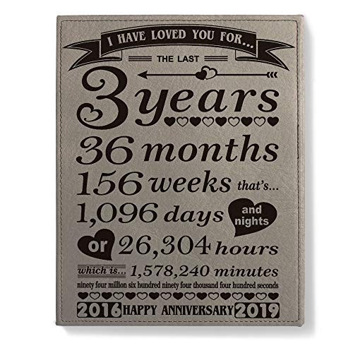 Kate Posh - Third Wedding Anniversary Engraved Leather Plaque (3 Years & 36 Months) - 2016 (Marriage Year) and 2019 (3rd Anniversary Year) - 3rd for Her, for Him, for Couple