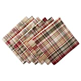 """DII Oversized 20x20"""" Cotton Napkin, Pack of 6, Give Thanks Plaid - Perfect for Fall, Thanksgiving, Farmhouse Décor, Dinner Parties or Everyday Use"""