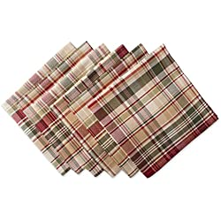 "DII Oversized 20x20"" Cotton Napkin, Pack of 6, Give Thanks Plaid - Perfect for Fall, Thanksgiving, Farmhouse Décor, Dinner Parties or Everyday Use"