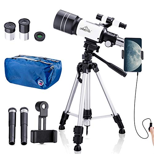 Telescope for Kids Beginners,150X Astronomy Monocular Telescopes 300/70mm with Phone Adapter, Camera...