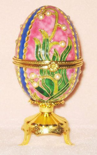 (Faberge Inspired Cloisonne Musical Egg Jewelry Box - Plays Waltz of the Flowers)