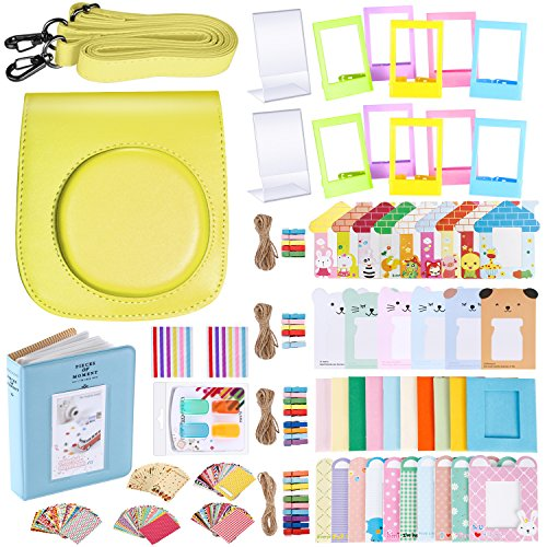 Neewer 56-in-1 Accessory Kit for Fujifilm Instax Mini 70 (Yellow),Includes: Camera Case with Adjustable Strap, Various Frames, Book Album, Color Filters, Corner Stickers, Photo Instant Film Stickers