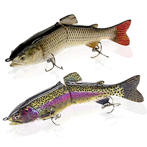 YL OUTDOOR Bass Fishing Lures Slow Sinking Multi Jointed Trout Crankbaits Popper Life-Like Fishing Tackle for Freshwater and Saltwater