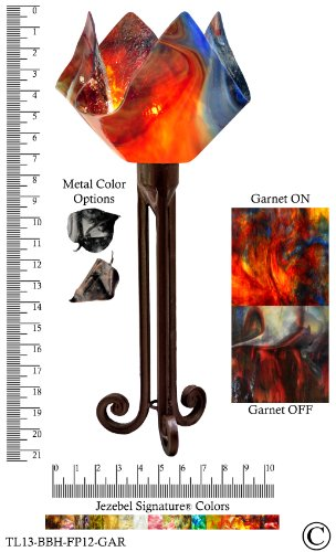 Jezebel Signature® Torch Light. Hardware: Brown with Brown Highlights. Glass: Garnet, Flame Style