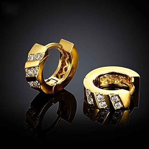Women 18K Gold Plating Zircon Stud earrings(Rose Gold) - 9