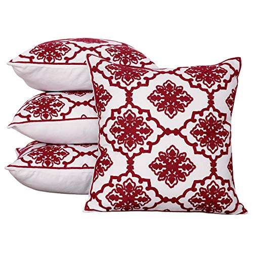 Snowflake White Pattern - Deconovo Embroidered Throw Pillow Covers Square Cotton Canvas Decorative Cushion Case with Snowflake Pattern Pillow Covers for Sofa Red and White 18x18 Inch Set of 4 No Pillow Insert