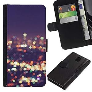 All Phone Most Case / Oferta Especial Cáscara Funda de cuero Monedero Cubierta de proteccion Caso / Wallet Case for Samsung Galaxy Note 3 III // luces horizonte de la ciudad de desenfoque noche brillante