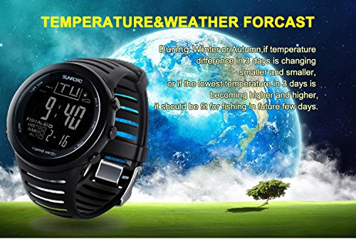SUNROAD Fishing Watch FR720 Weather Forecast Fishing Place Record Barometer Altimeter Thermometer Backlight Digital Watch by YARUIFANSEN (Image #5)