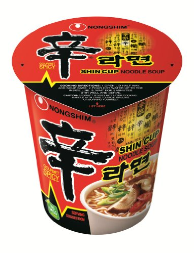 Korean Noodle Soup - NongShim Shin Cup Noodle Soup, Gourmet Spicy, 2.64 Ounce (Pack of 12)