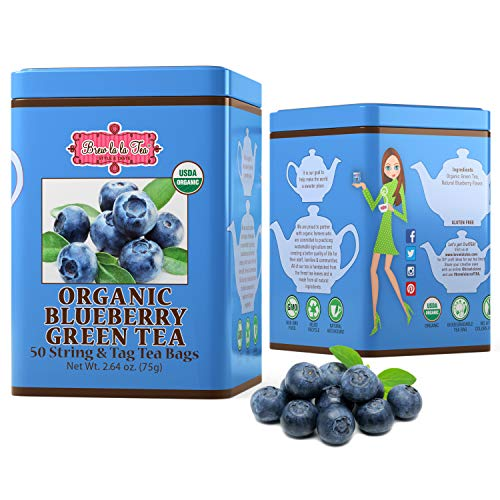 Brew La La Organic Green Tea - Natural Blueberry Flavor - 50 Tea Bag Tin - Low Caffeine Gourmet Tea - Certified Organic