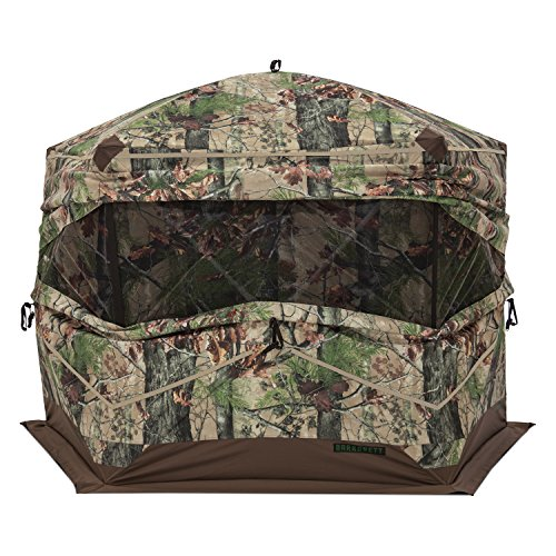 Barronett Ox 5 Ground Hunting Blind, 3 Person Pop Up Portable, Durable Oxhide Fabric, Backwoods - Pop Up Blind