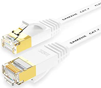 SAMZHE Ethernet Cable, 26ft CAT7 RJ45 STP LAN Cable High Speed Gigabit Network Patch Cord Gold Plated (White)
