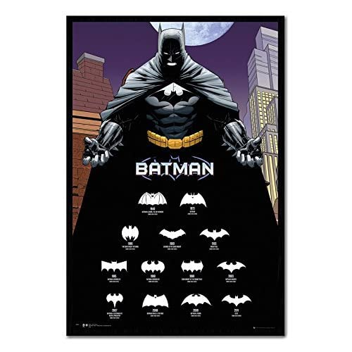 Hot Batman Logos With Years Poster Magnetic Notice Board Black Framed - 96.5 x 66 cms (Approx 38 x 26 inches) supplier