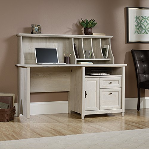 Sauder Edge Water Computer Desk with Hutch in Chalked Chestnut by Sauder
