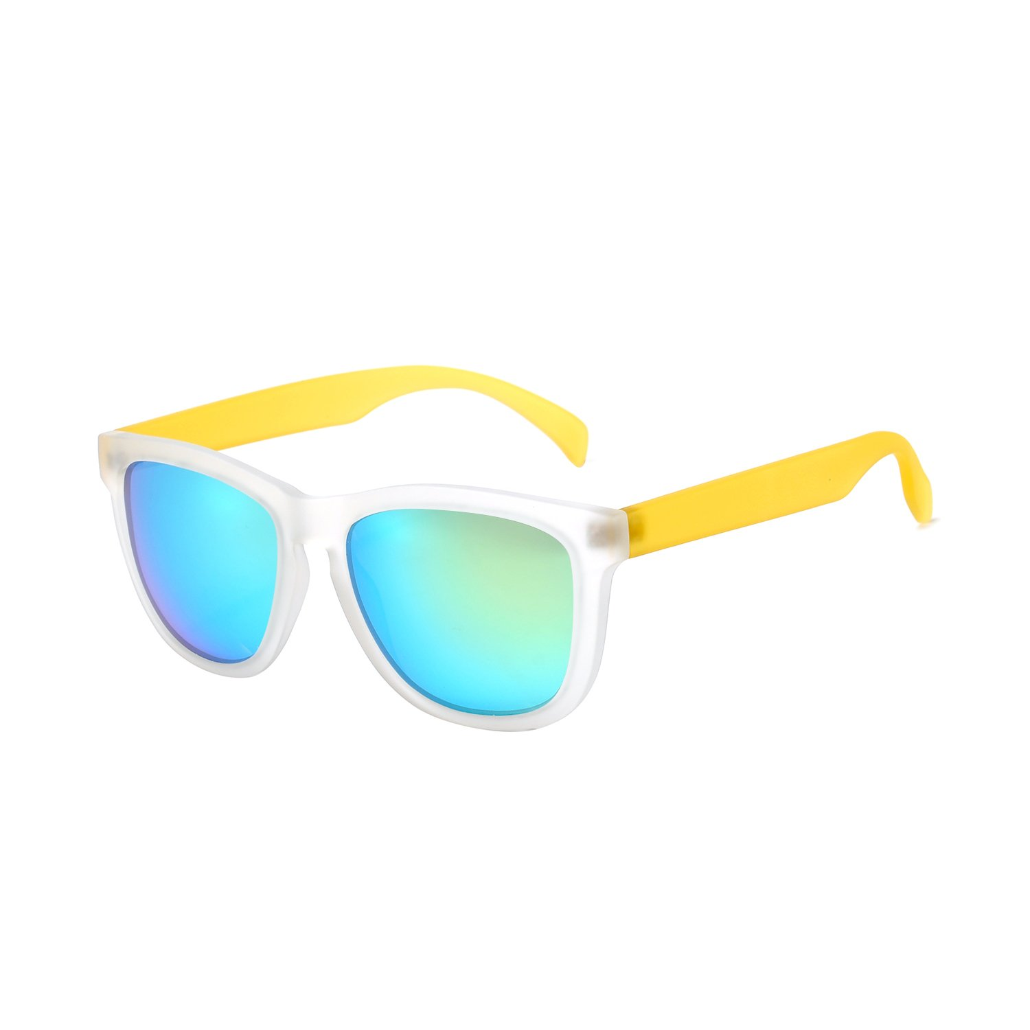 KENTKING Polarized Wayfarer Sunglasses,Unisex Clear Matt Frame TAC Mirrored Lens Beach Sunglasses (Clear Yellow/Apple Green)
